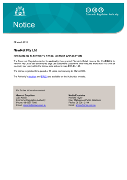 NewRet Pty Ltd - Decision on Electricity Retail Licence Application