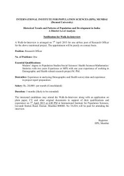 Notification for Walk-In
