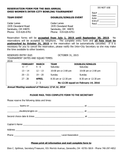 2016 Tournament Reservation form