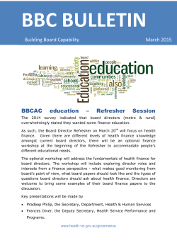 BBCAC education – Refresher Session Building