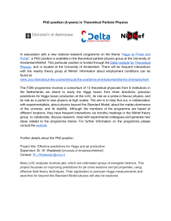 PhD position (4years) in Theoretical Particle Physics