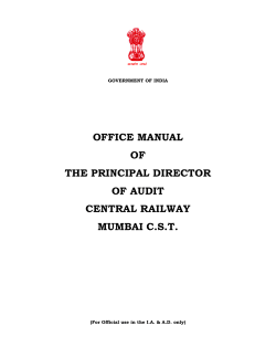 OFFICE MANUAL OF THE PRINCIPAL DIRECTOR OF AUDIT