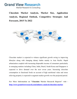 Chocolate Market Share, Forecasts 2015 To 2022: Grand View Research, Inc.