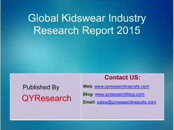 Global Kidswear Market 2015 Industry Trend, Analysis, Survey and Overview
