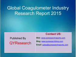 Global Coagulometer Market 2015 Industry Trend, Analysis, Survey and Overview