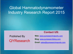Global Hamnatodynamometer Market 2015 Industry Trend, Analysis, Survey and Overview