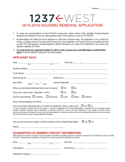 2015-2016 HOUSING RENEWAL APPLICATION