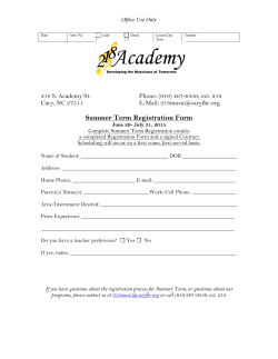 Summer 2015 Registration Form & Contract