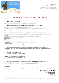ACoMoNT - FORMULAIRED ` ADHESION 2 0 1 5 – Association