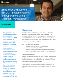 Bring Your Own Device (BYOD) : Implementation and Operations