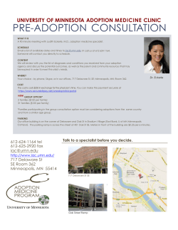 PRE-ADOPTION CONSULTATION - Adoption Medicine Clinic