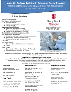 Hands-On Cadaver Training in Colon and Rectal Diseases