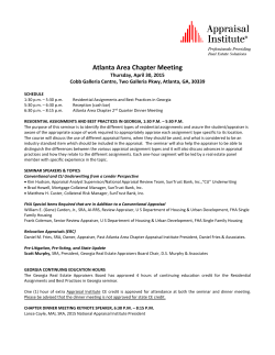 Next Chapter Meeting 4/30/15 - Atlanta Area Chapter of the