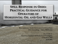 Spill Response on an Ohio`s Horizontal Oil and Gas Well Pad