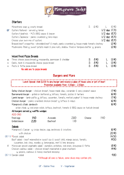 Mangrove Jacks Menu - Airlie Beach Hotel