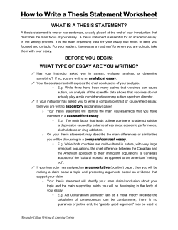 Writing Guide & Worksheet – Thesis Statement