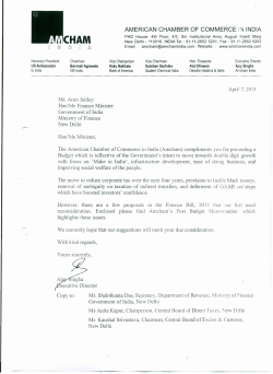 Cover Letter to Finance Minister - American Chamber of Commerce