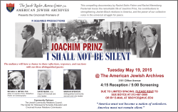 I SHALL NOT BE SILENT - American Jewish Archives