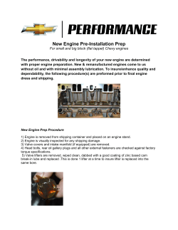 New Engine Prep & Oil Priming Service
