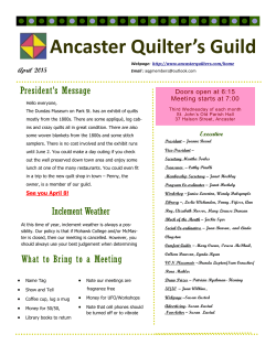 April Newsletter - Ancaster Quilters Guild