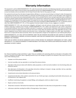 Warranty Information Liability - Aneer Engineers Private Limited