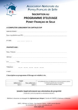 PROGRAMME D`ELEVAGE