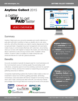 Anytime Collect Overview Spec Sheet highlighting all three product