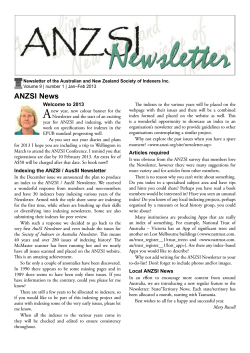 2013 - Australian and New Zealand Society of Indexers