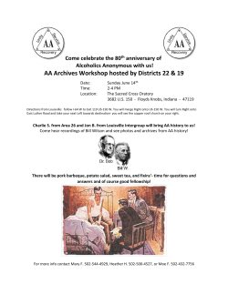 AA Archives Workshop hosted by Districts 22 & 19