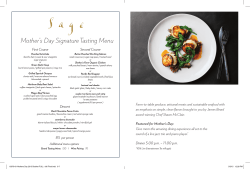 Mother`s Day Signature Tasting Menu
