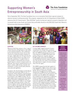 Supporting Women`s Entrepreneurship in South Asia
