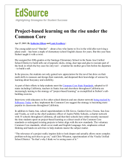 Project-based learning on the rise under the Common Core