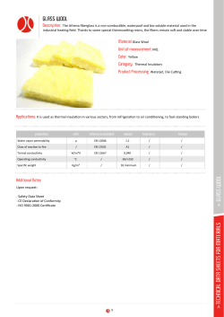 technical data sheets for materials > glass wool