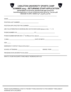 Summer Camp Application- Returning Staff