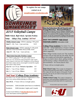 2015 Volleyball Camps - Schreiner University Athletics