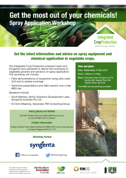Get the most out of your chemicals! Spray Application