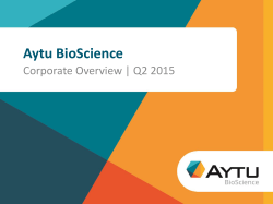 Aytu Corporate Presentation Q2 2015