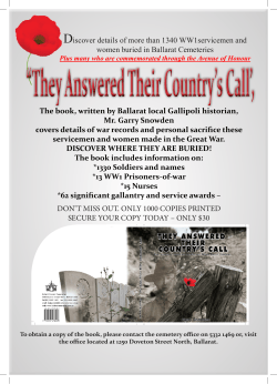 The book, written by Ballarat local Gallipoli historian, Mr. Garry