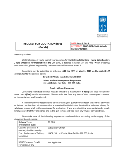 RFQ/UNDP/Static Vehicle Barriers/05/2015