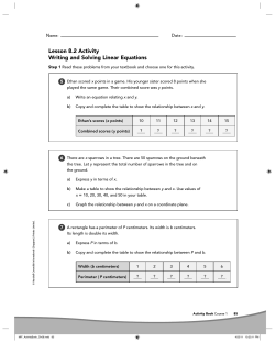 Lesson 8.2 Activity Writing and Solving Linear