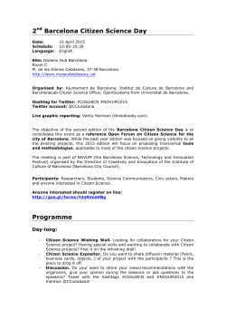 2nd Barcelona Citizen Science Day Programme