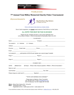 7th Annual Tom Milley Memorial Charity Poker Tournament