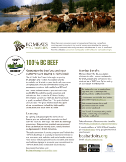 100% BC Beef Info Sheet for Stores and Restaurants