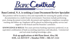 BancCentral, N.A. is seeking a Loan Document Review Specialist