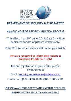 Circular - Compulsory Pre-registration of Visitors from Gate 1