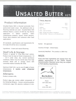 Unsalted Butter .82% - Berkshire Dairy and Food Products