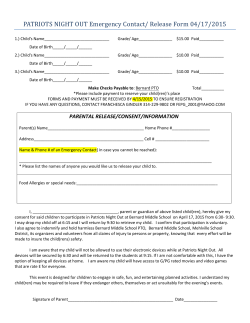 PATRIOTS NIGHT OUT Emergency Contact/ Release Form 04/17