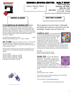 January, February, March 2015 Bernina Sewing Center & Quilt Shop