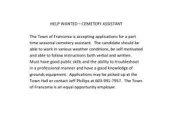 HELP WANTED – CEMETERY ASSISTANT The