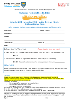 Christmas Festival of Food & Drink 2015 stall application form